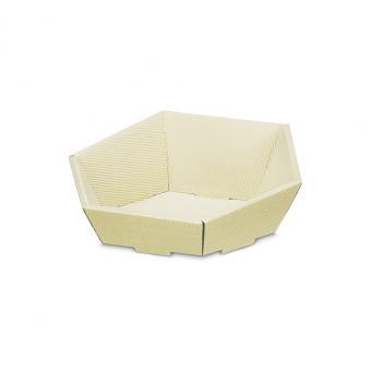 Präsentkorb 6-eckig Modern Natur Creme -klein-
