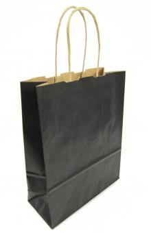 Präsentpapiertragetasche mit Papierkordel in Schwarz